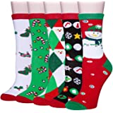 Chalier 5 Pairs Womens Christmas Socks Cozy Funny Xmas Holiday Socks - Novelty Design for Christmas Gifts