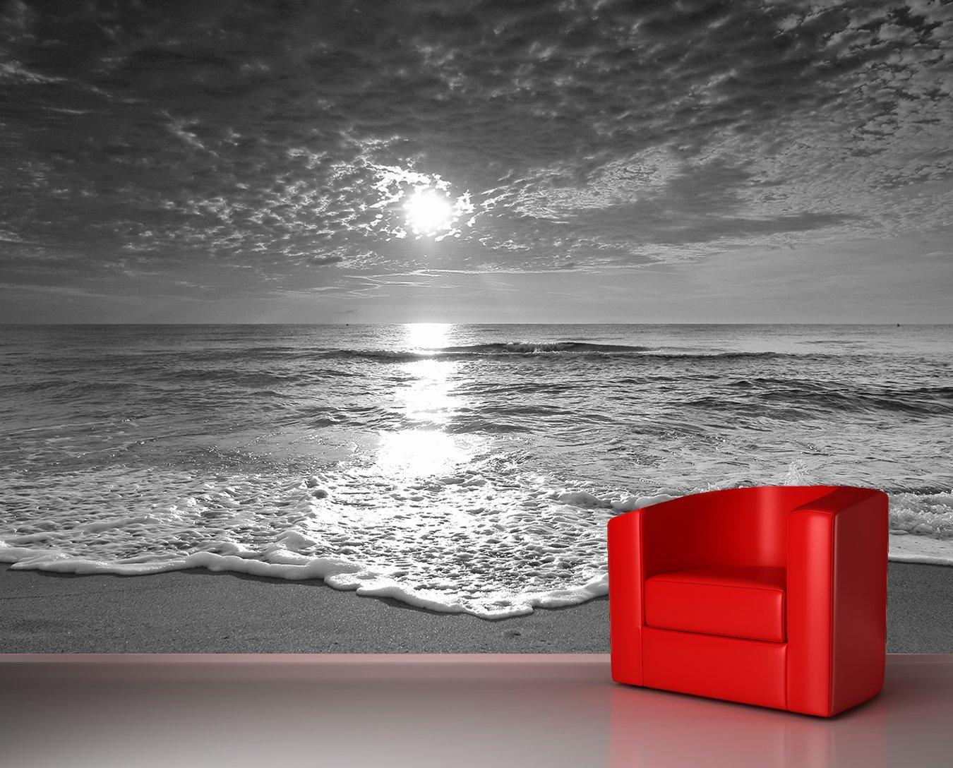 Bilderdepot24 Vlies Fototapete - Strand Sonnenuntergang Sonnenuntergang Sonnenuntergang - schwarz Weiss - 230x150 cm - mit Kleister – Poster – Foto auf Tapete – Wandbild – Wandtapete – Vliestapete B06WPBT41M Wandtattoos & Wandbilder 04a7ae
