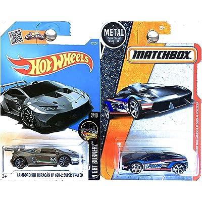 Hot Wheels 2016 HW Lamborghini Huracan LP 620-2 Super Trofeo & Matchbox Lamborghini Gallardo LP 560-4 Polizia 2-Car Bundle Set: Toys & Games