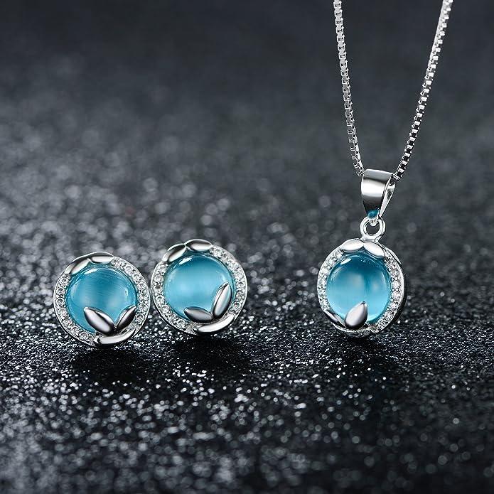 JiangXin Women's Jewellery Sets Cat's Eye Gemstone 925 Sterling Silver Earring Studs Pendant Necklace CpBU1