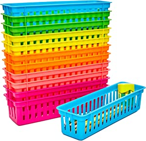12-Pack Classroom Pen and Pencil Basket Trays, Assorted Colors, 10 x 3 x 2.5 Inches
