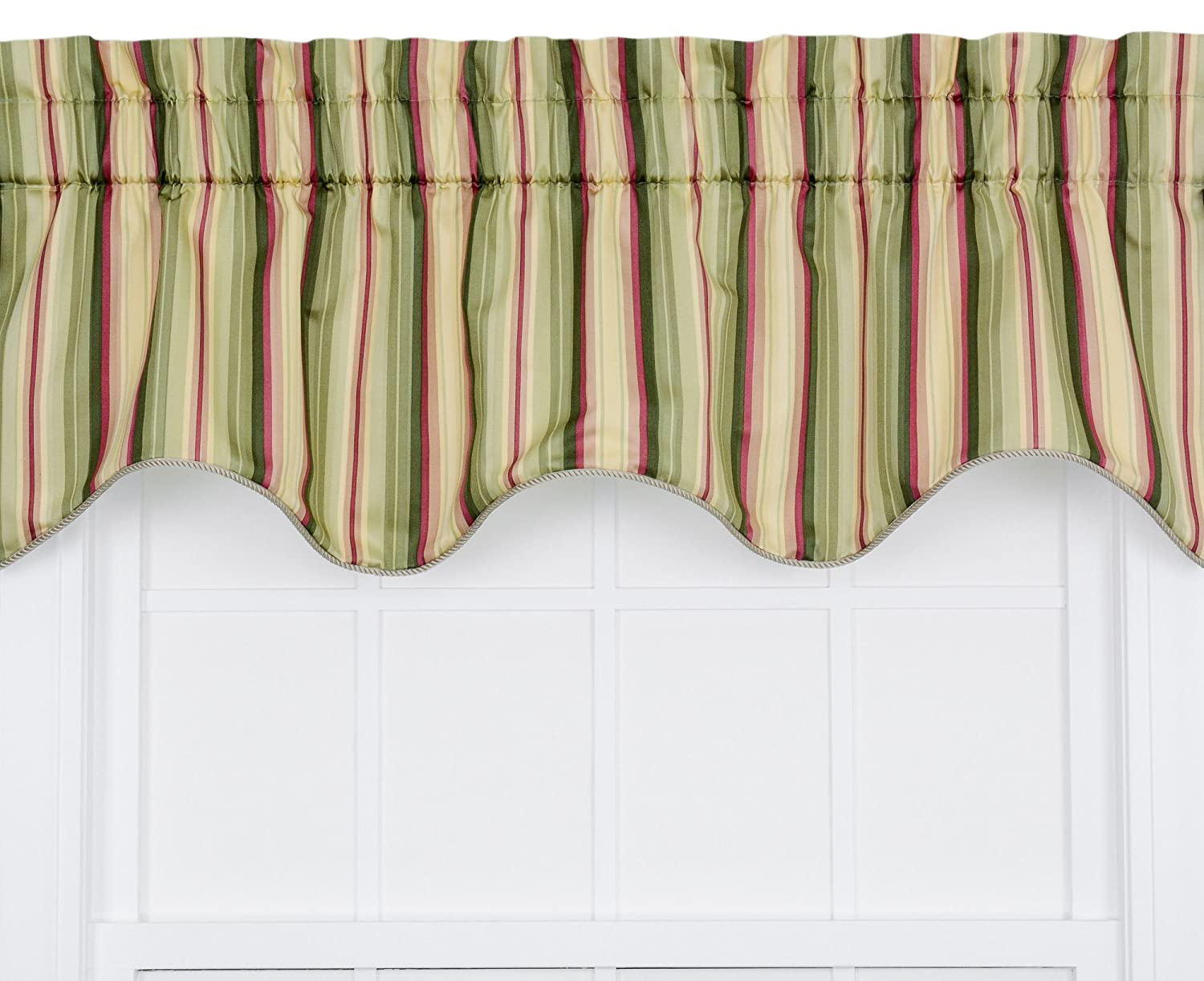 Ellis Curtain Mateo Medium Scale Stripe Print Lined Duchess Filler Valance, 50 by 15-Inch, Basil