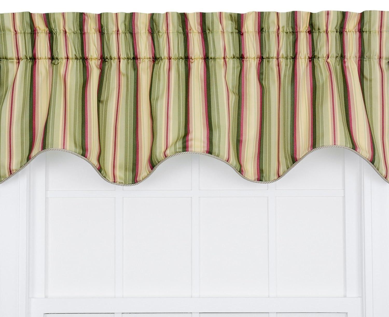 Ellis Curtain Mateo Medium Scale Stripe Print Lined Duchess Filler Valance, 50 by 15-Inch, Basil