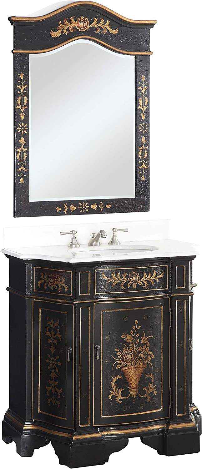 35 Hand painted Black Crossfield Bathroom Sink vanity w matching mirror HF090BK