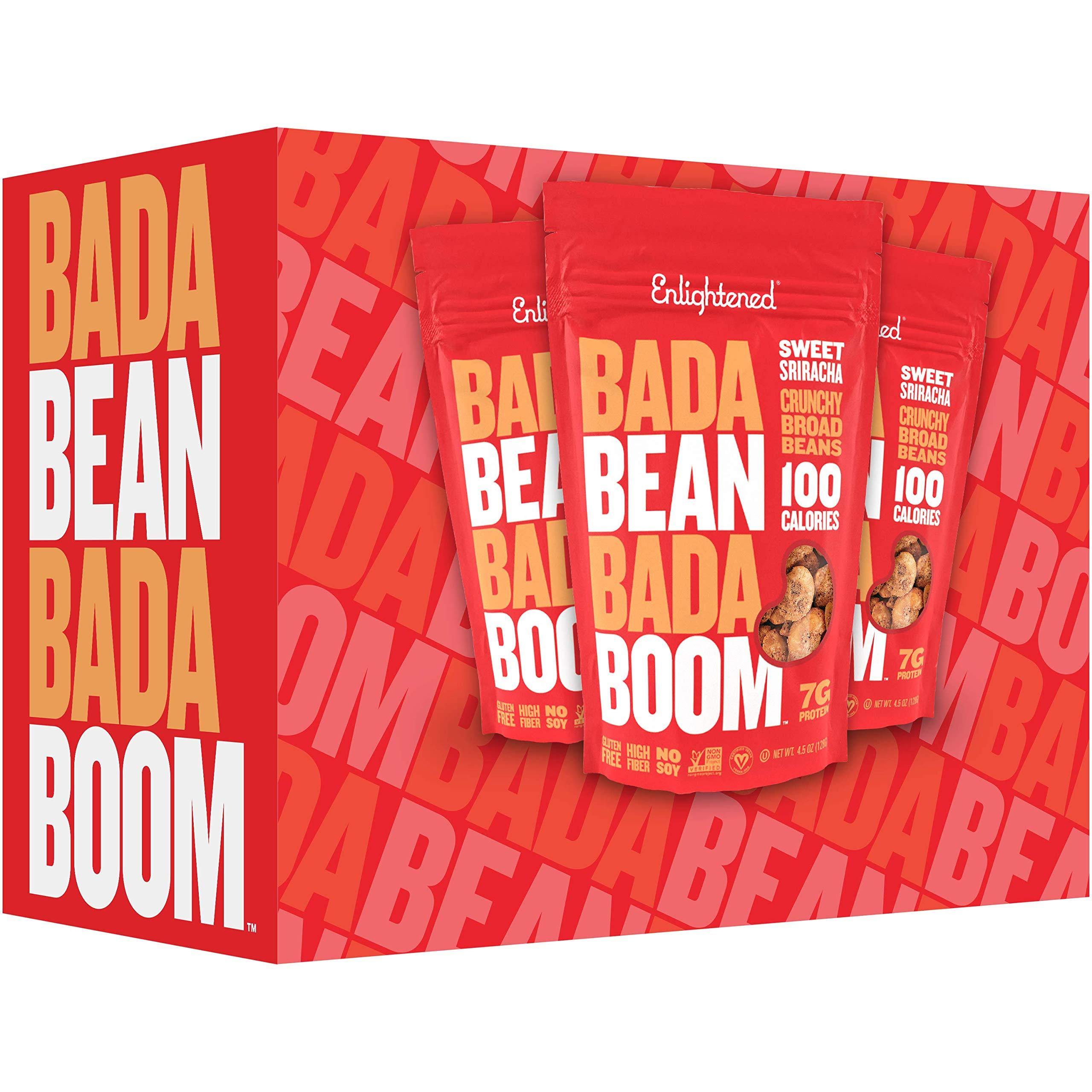 Enlightened Bada Bean Bada Boom Plant Protein Gluten Free Roasted Broad (Fava) Bean Snack, Sriracha, 4.5 Ounce (12 Count) by Enlightened