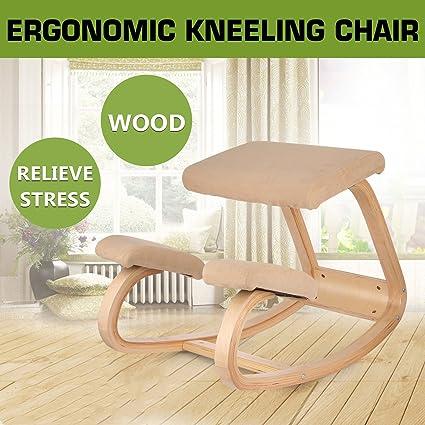 Amazoncom Happybuy Wooden Ergonomic Kneeling Chair Heavy Duty for