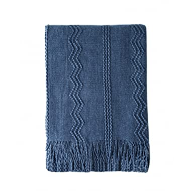 Bourina Throw Blanket Textured Solid Soft Sofa Couch Decorative Knitted Blanket, 50  x 60 ,Navy