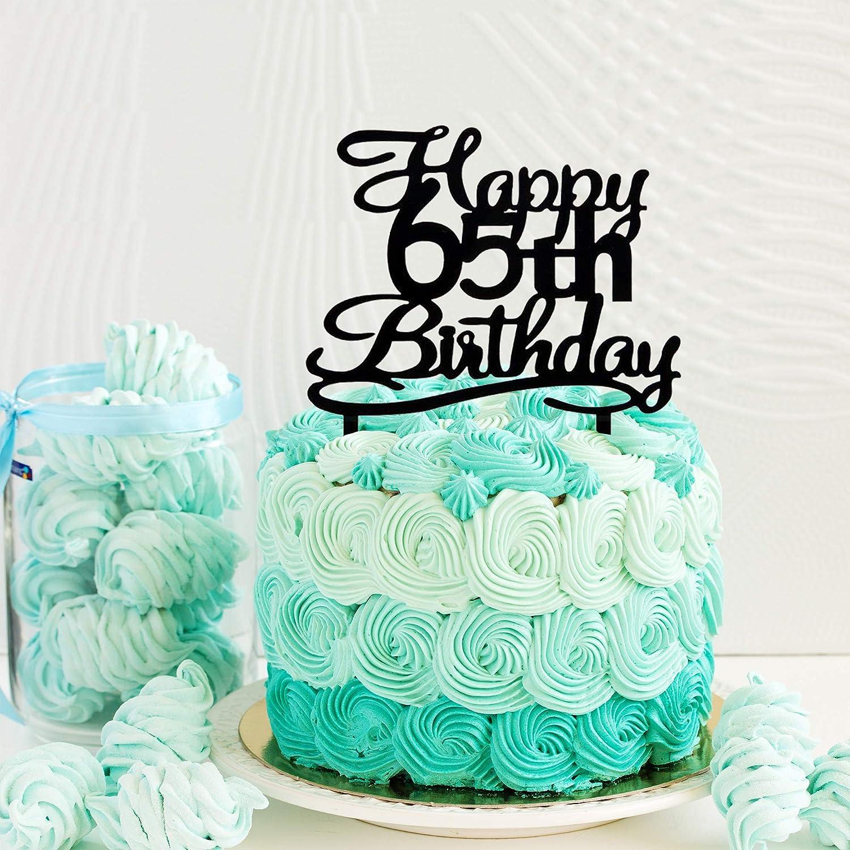 Excellent Amazon Com Happy 65Th Birthday Cake Topper Black Acrylic Cake Funny Birthday Cards Online Benoljebrpdamsfinfo