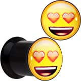 Officially Licensed Heart Eyes emoji Black Acrylic Double Flare Plug Set of 2 6mm to 16mm