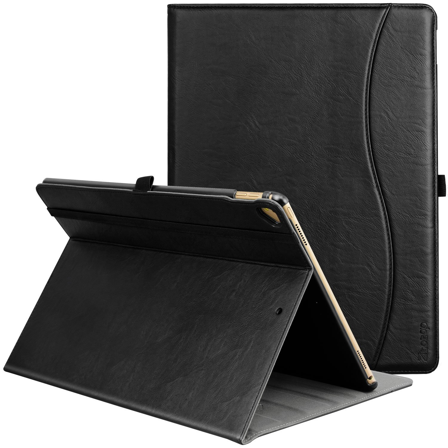 IPad Pro 12.9 Inch 2017/2015 Case, Ztotop Premium Leather Business Folding Stand Folio Cover for New Apple Tablet with Auto Wake/Sleep and Document Card Slots, Multiple Viewing Angles,ALL Black