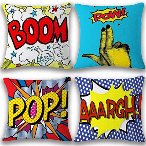Jotom Throw Pillow Covers 18 X 18 Farmhouse Decorative Square Pillow Covers 18x18 Cushion Cover Set Of 4 Boom Pop Home Kitchen