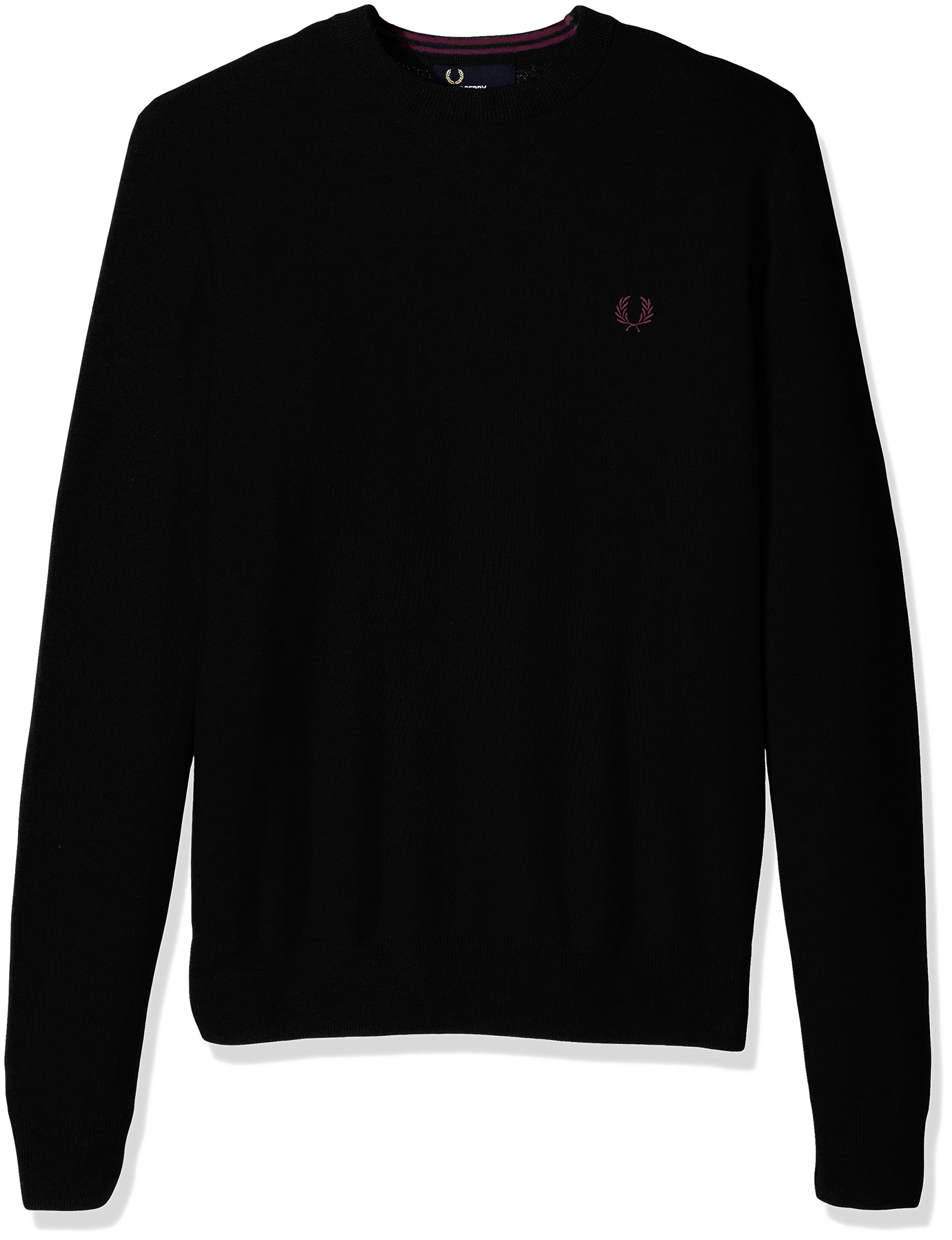 Fred Perry Men's Classic Crew Neck Cotton Sweater, Black, Large