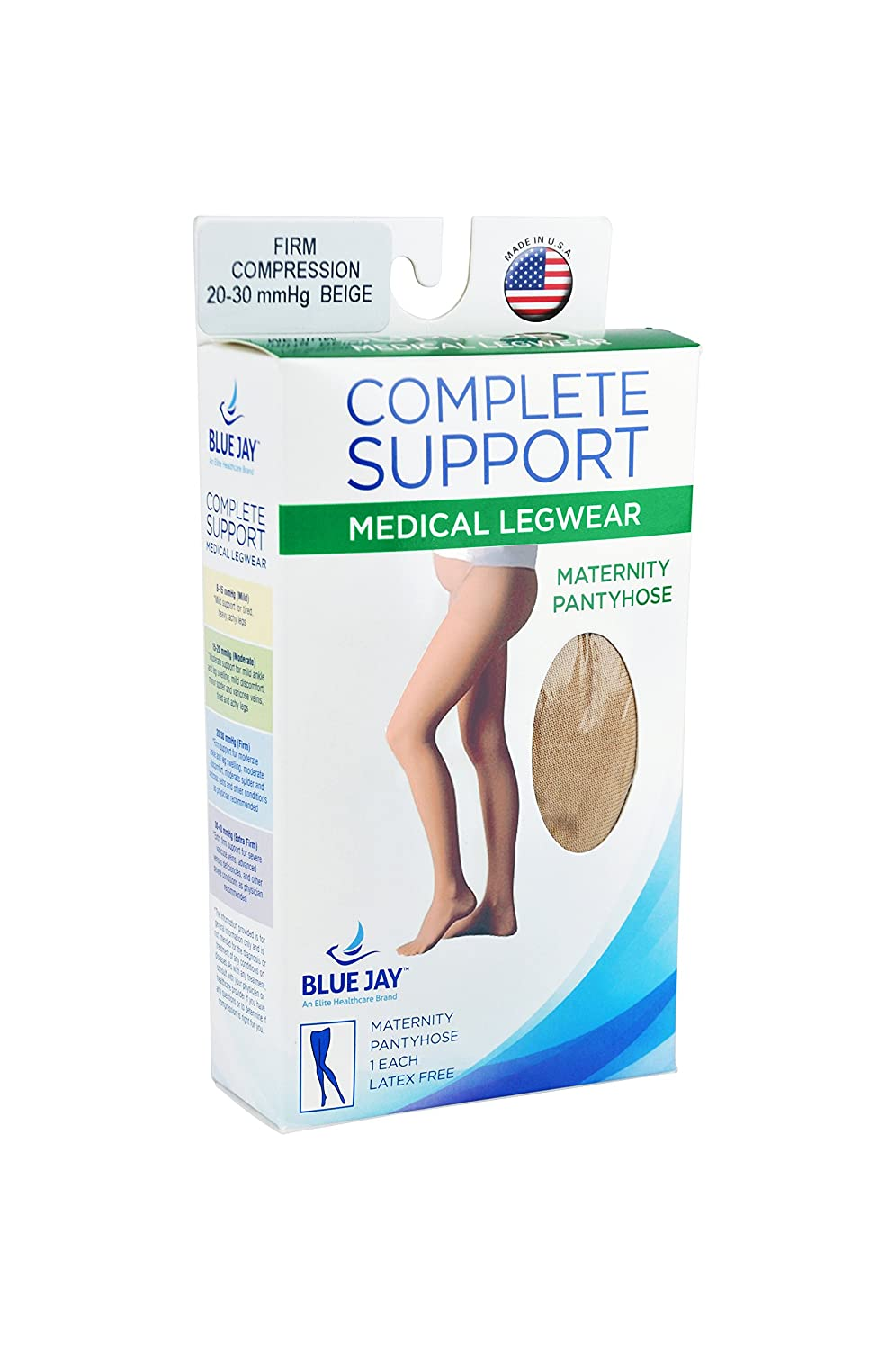 Complete Medical Firm Surgical Weight Maternity Closed Toe Panty Hose 20-30 mmHg 0.2 Pound Complete Medical Manufacturing Group BJ375BGXT Extra-Tall