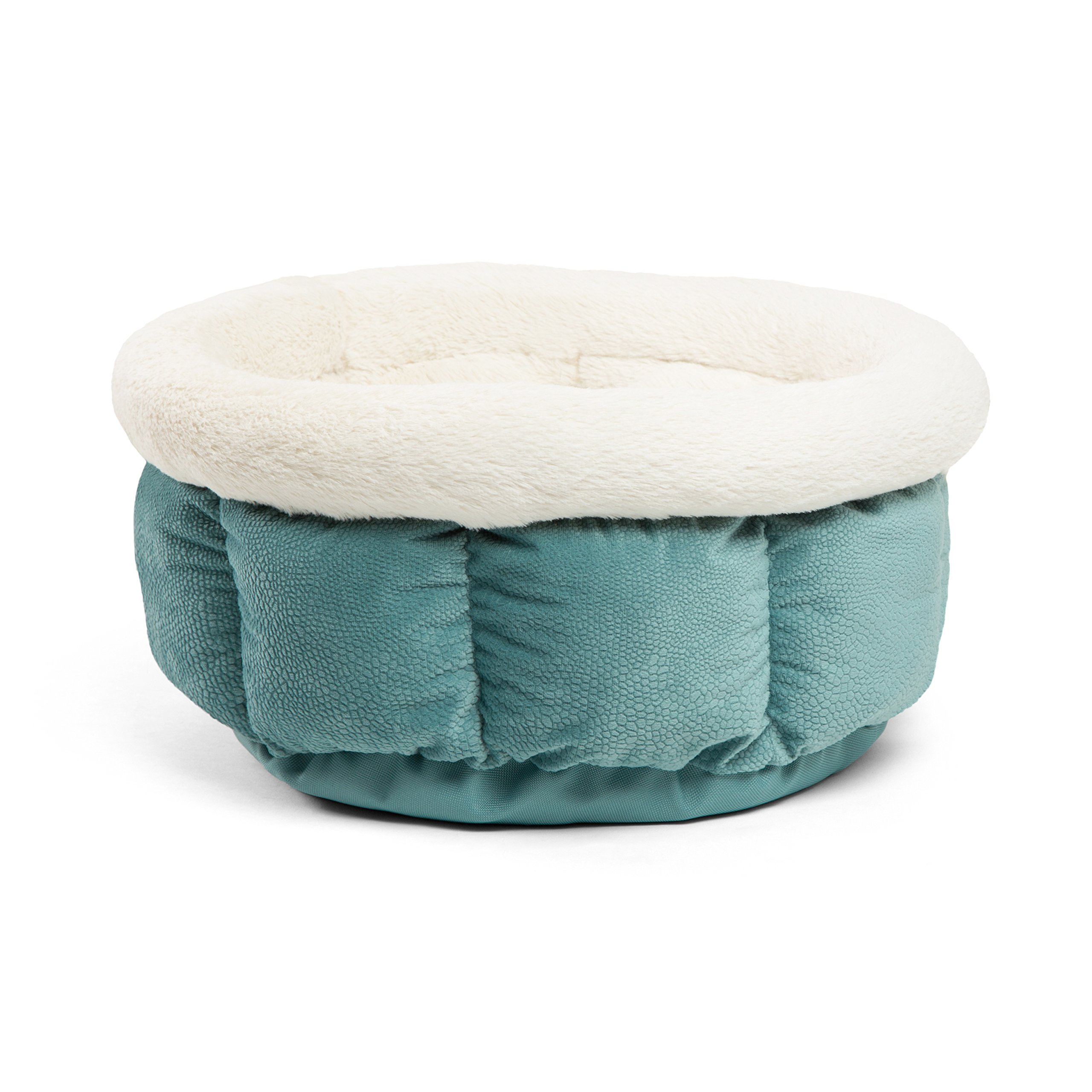Best Friends by Sheri Small Cuddle Cup - Cozy, Comfortable Cat and Dog House Bed - High-Walls for Improved Sleep, TidePool by Best Friends by Sheri (Image #4)