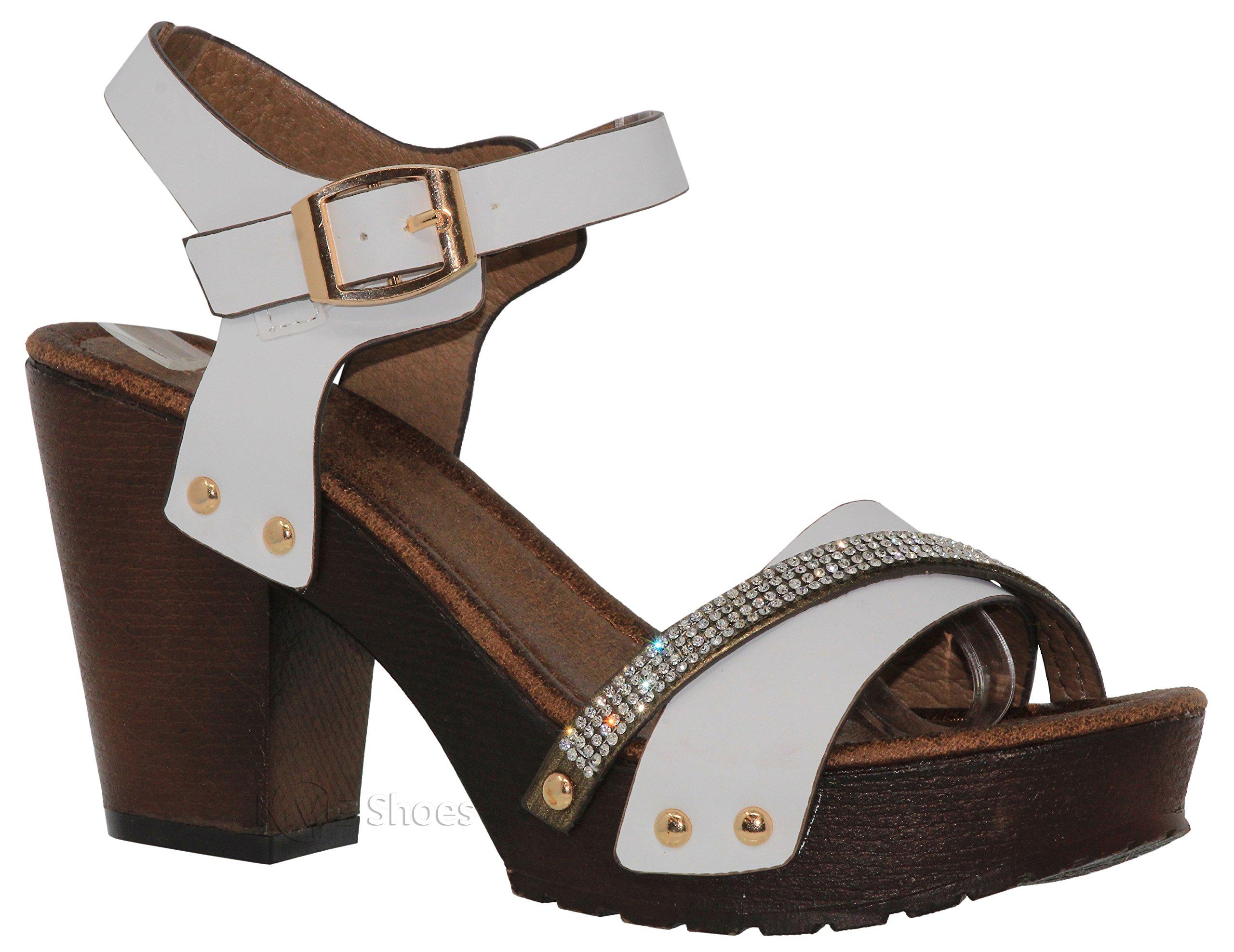 MVE Shoes Women's Ankle Strap Faux Wood Platform Chunky Heel Sandal,vint-02 White pu 10 by MVE Shoes (Image #1)