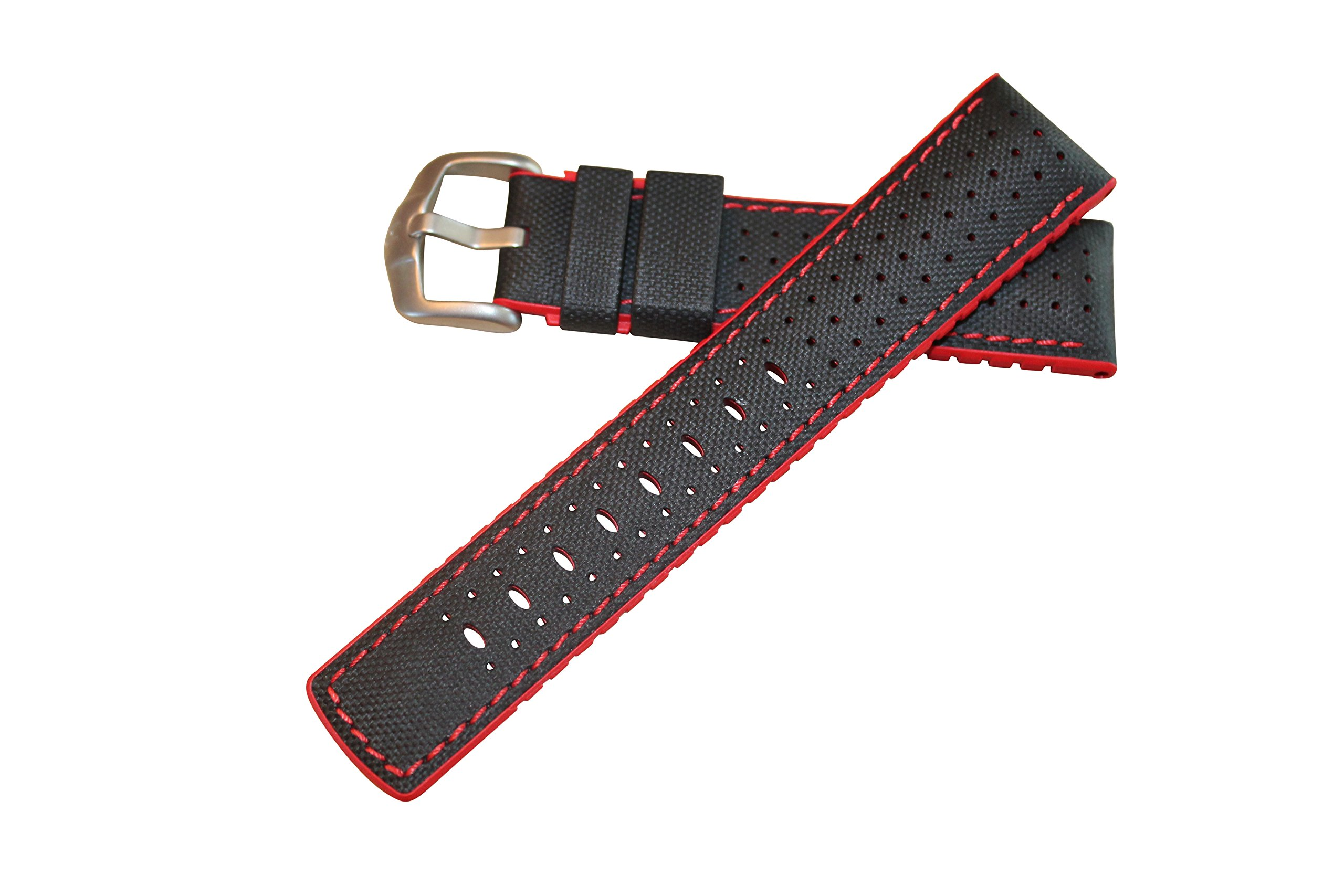 Hirsch Performance Robby Sailcloth Style 22mm Leather and Rubber Watch Band Black / Red