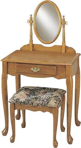 Powell Nostalgic Oak Vanity, Mirror, and Bench Set