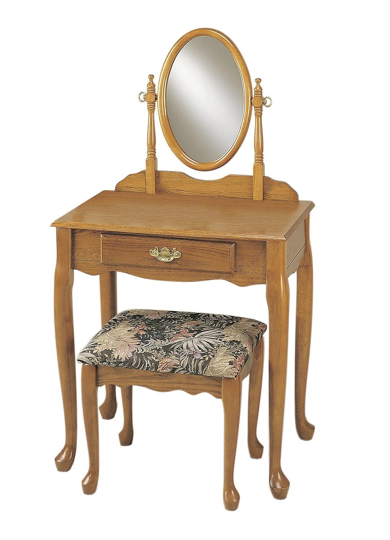 Amazon.com: Powell Nostalgic Oak Vanity, Mirror, and Bench Set ...