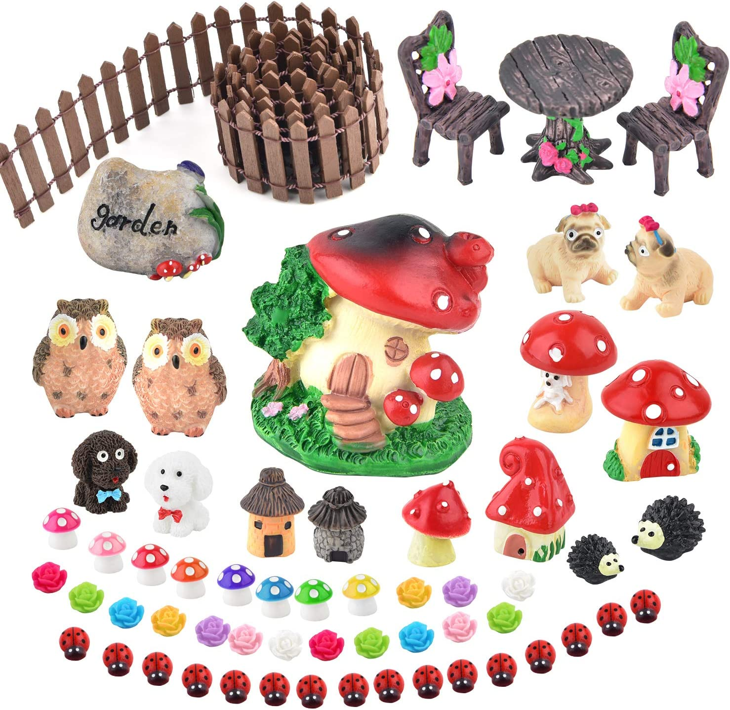 Zealor Miniature Ornaments Kit Fairy Garden Accessories Set Terrarium Kit Miniature Houses and Figurines Garden Decor