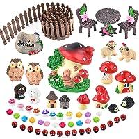 Zealor Miniature Ornaments Kit Fairy Garden Accessories Set Terrarium Kit Miniature Houses and Figurines Garden Decor