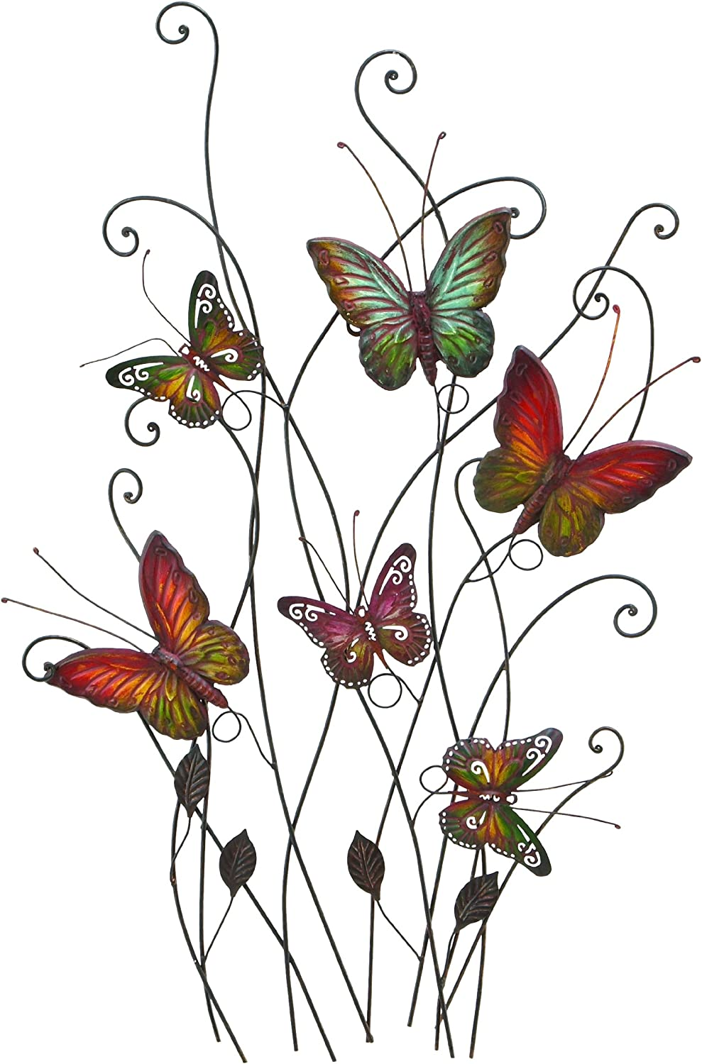 Large Colorful Butterflies Outdoor Metal Wall Decor, 32