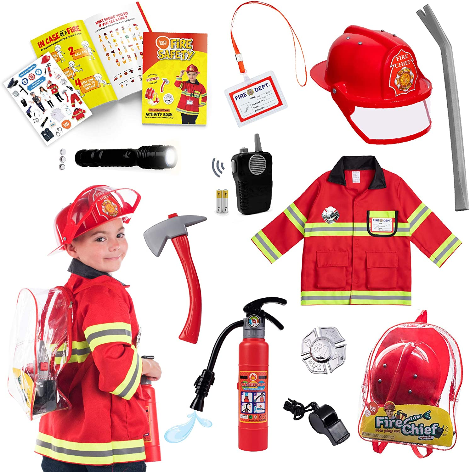 Kid /& Boy Fireman Role Playing Costumes Dress Up Fun Fire Extinguisher Toy