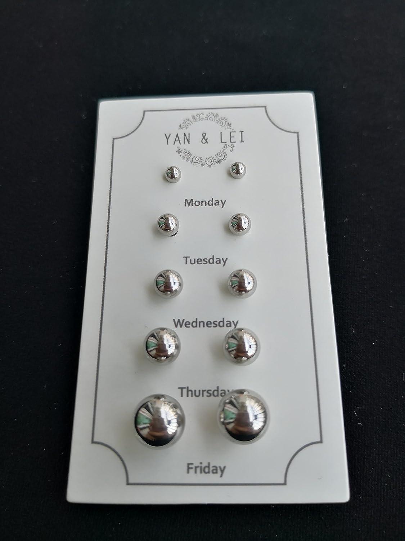 YAN /& LEI Stainless Steel Ear Studs Earrings Set of 5
