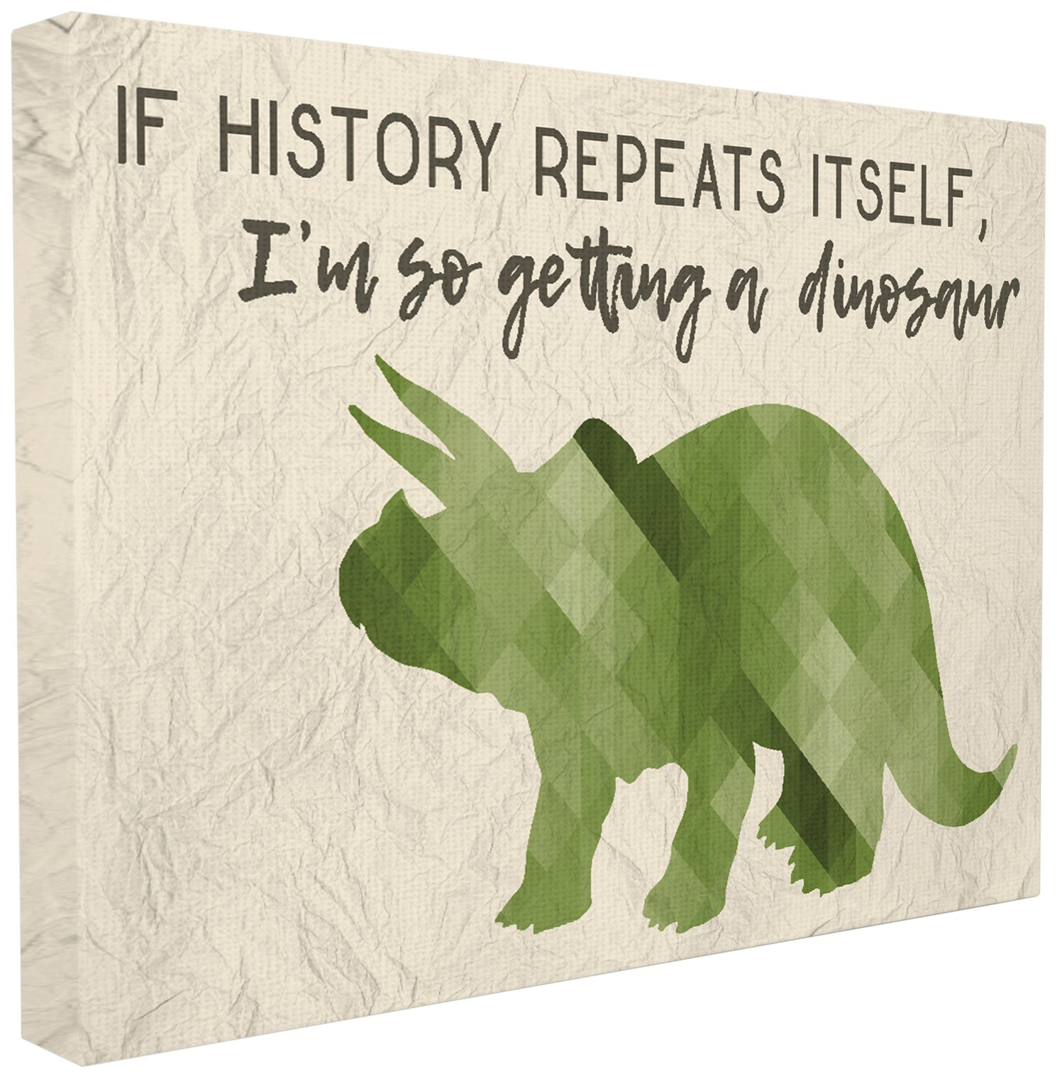The Stupell Home Décor Collection I'm So Getting a Dinosaur Green Triceratops Stretched Canvas Wall Art, 16 x 20