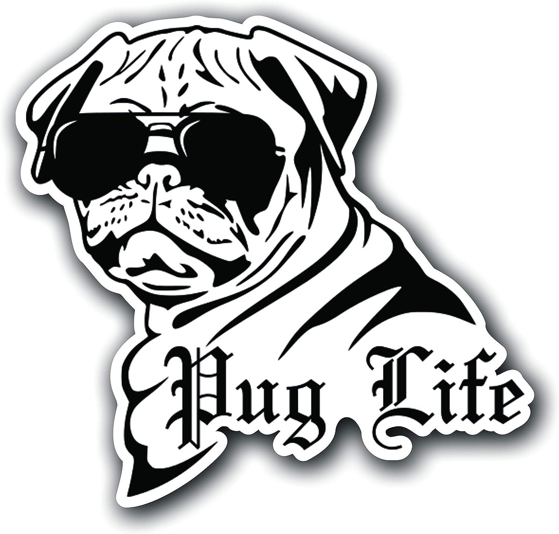 Pug Life Sticker Dog Car Window Decal Vinyl Graphic; Funny Thug Life