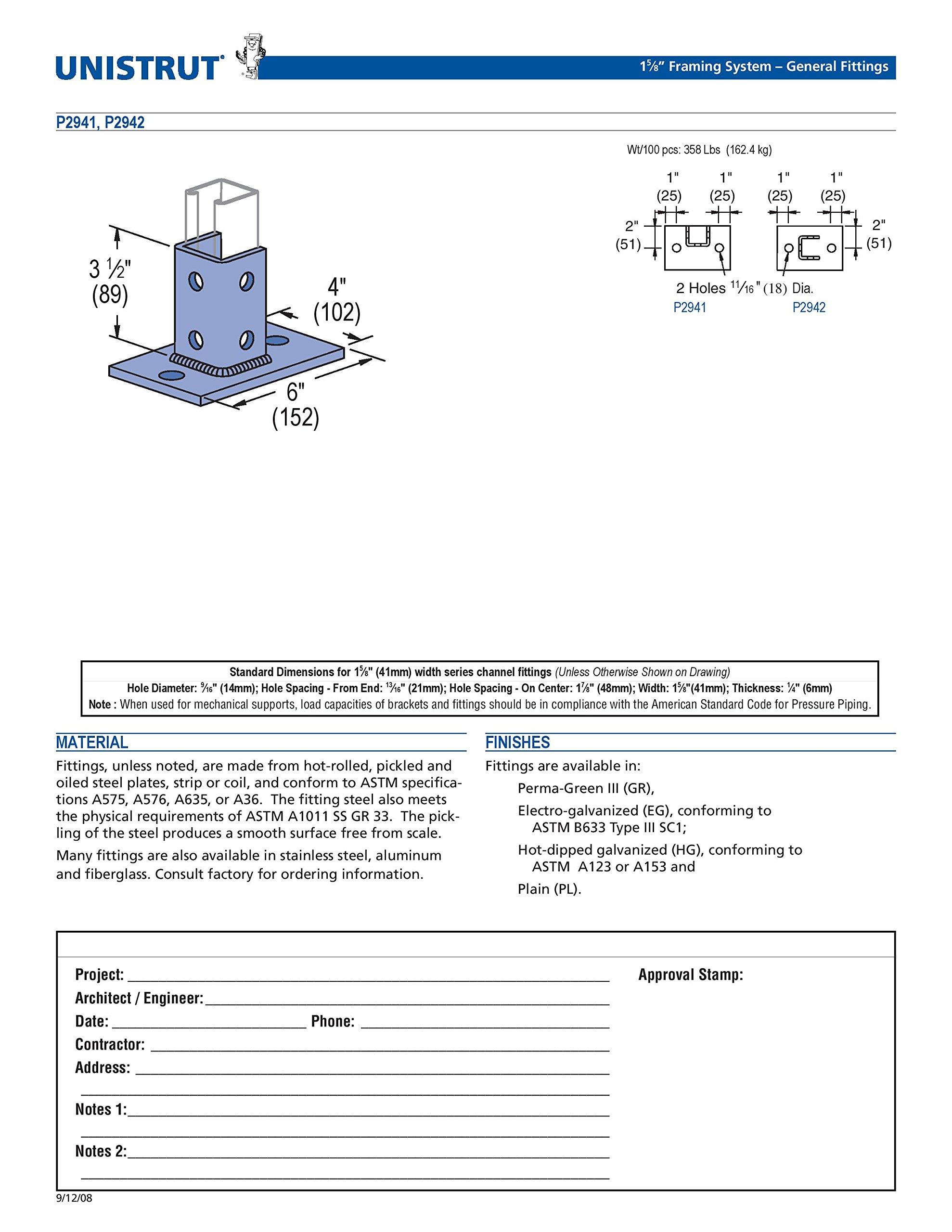 Unistrut P2942-EG Post Base Single Channel, 2 Hole, Standard, 3-1/2'' Channel