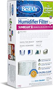 """BestAir H62-PDQ-4 Extended Life Humidifier Replacement Paper Wick Humidifier Filter, For Holmes, Sunbeam, Touch Point, Halls, White-Westinghouse & Hamilton-Beach Models, 4.5"""" x 2.5"""" x 9.2"""", Single PK"""