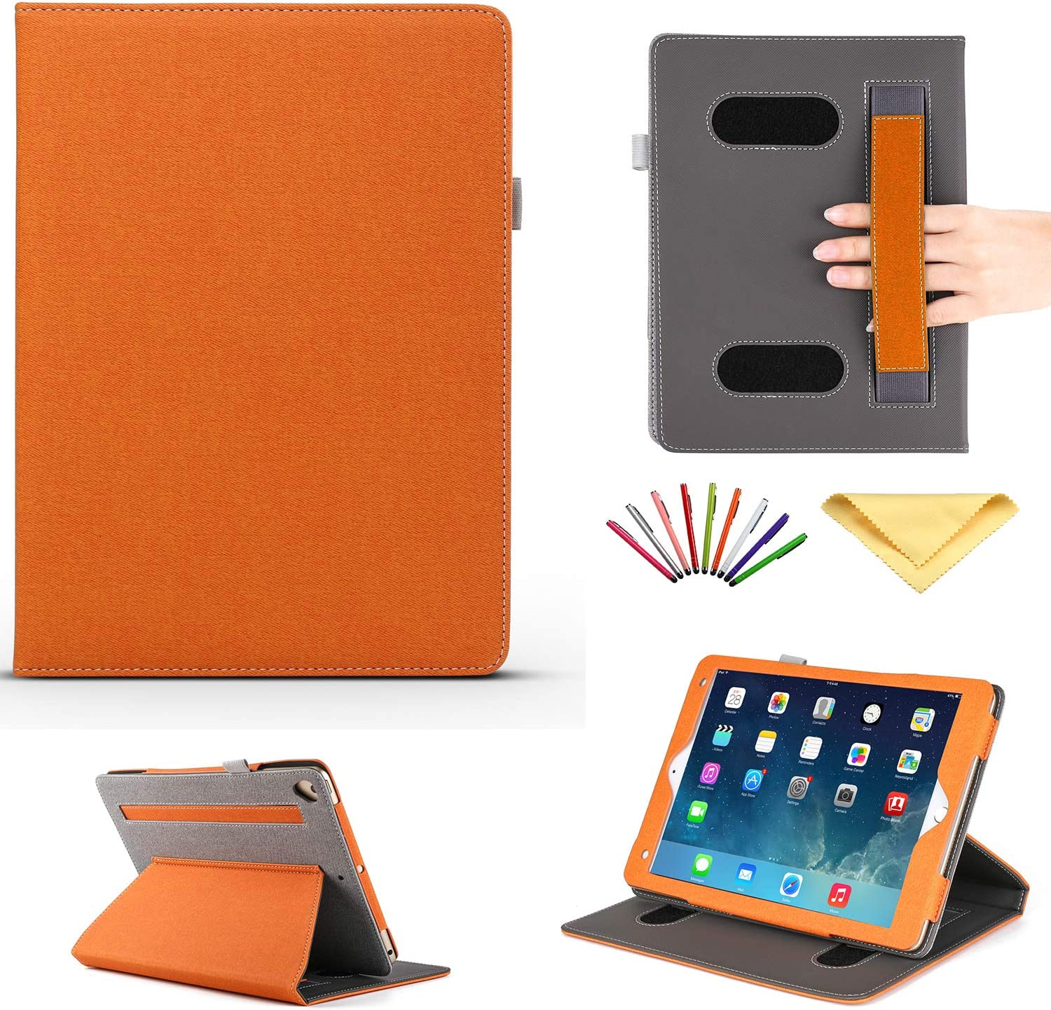 iPad 9.7 Inch Case 2018 2017 (iPad 5th/6th Gen), iPad Pro 9.7 2016/iPad Air 1/Air 2 Cover, Uliking Smart Stand PU Leather Auto Sleep/Wake Cover with Pencil Holder Card Pocket [Hand Strap/Grip], Orange