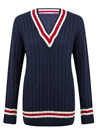 b1a229c11ca8 [Navy Blue, S-M] NEW LADIES WOMENS V NECK CABLE KNITTED WOVEN CRICKET JUMPER