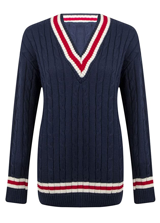 ec555610460 [Navy Blue, SM] NEW LADIES WOMENS V NECK CABLE KNITTED WOVEN CRICKET JUMPER  STRETCH LONG TOP