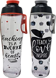 2-Pack 50 Strong Teacher Water Bottle - BPA Free for Teachers - Give Bottles As Thank You Gifts & Appreciation for Teachers - Teacher Apples + Hearts Bundle