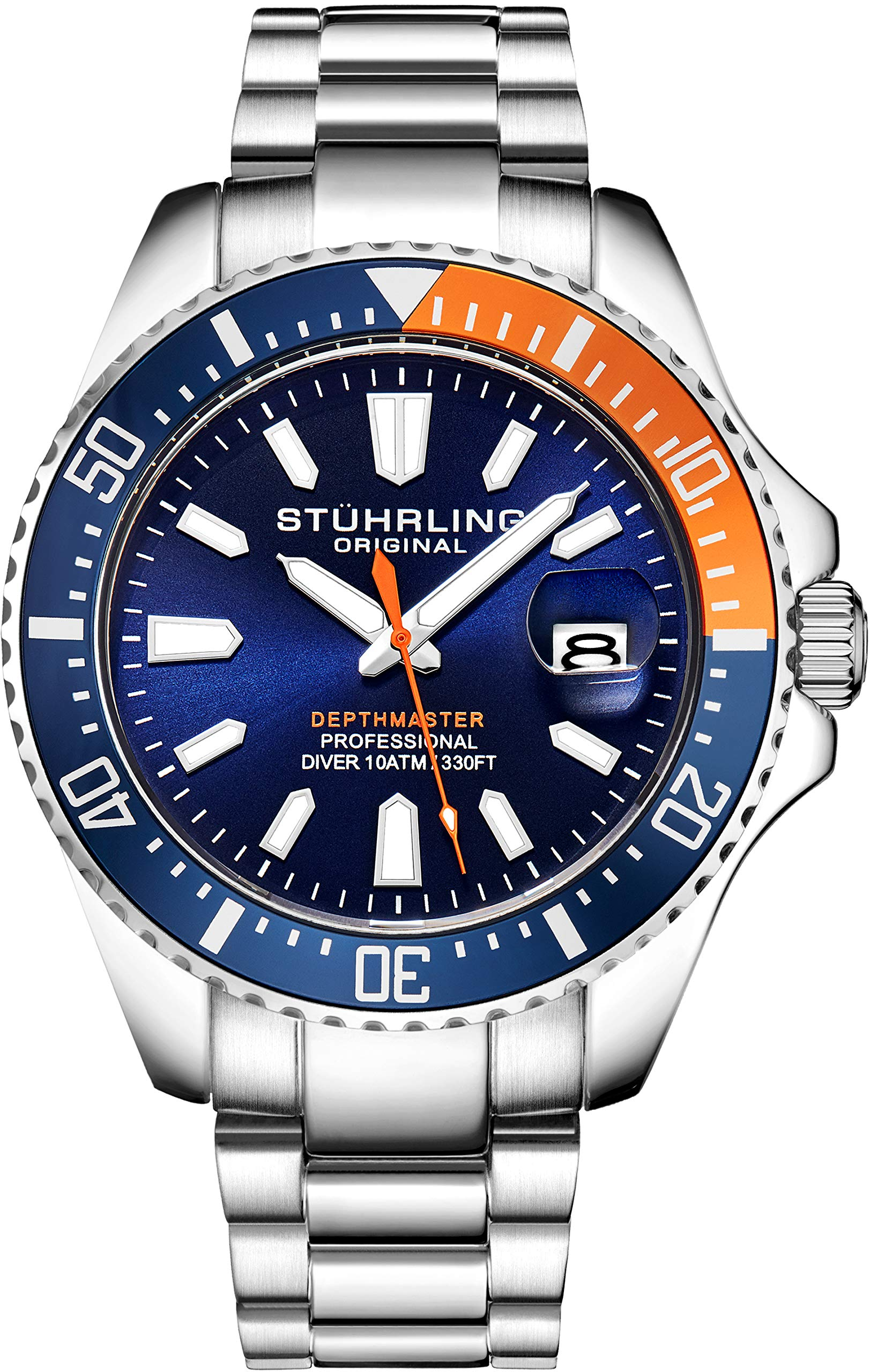 Stuhrling Original Watches for Men-Pro Diver Watch - Sports Watch for Men with Screw Down Crown for 330 Ft. of Water Resistance - Analog Dial, Quartz Movement - Mens Watches Collection (Blue/Orange) by Stuhrling Original