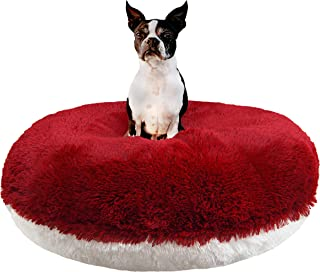 product image for BESSIE AND BARNIE Signature Lipstick/Snow White Luxury Shag Extra Plush Faux Fur Bagel Pet/Dog Bed (Multiple Sizes)