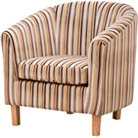 Sofa Collection Amboise Striped Fabric Tub Chair/Armchair Seating - Grey Or Brown Available