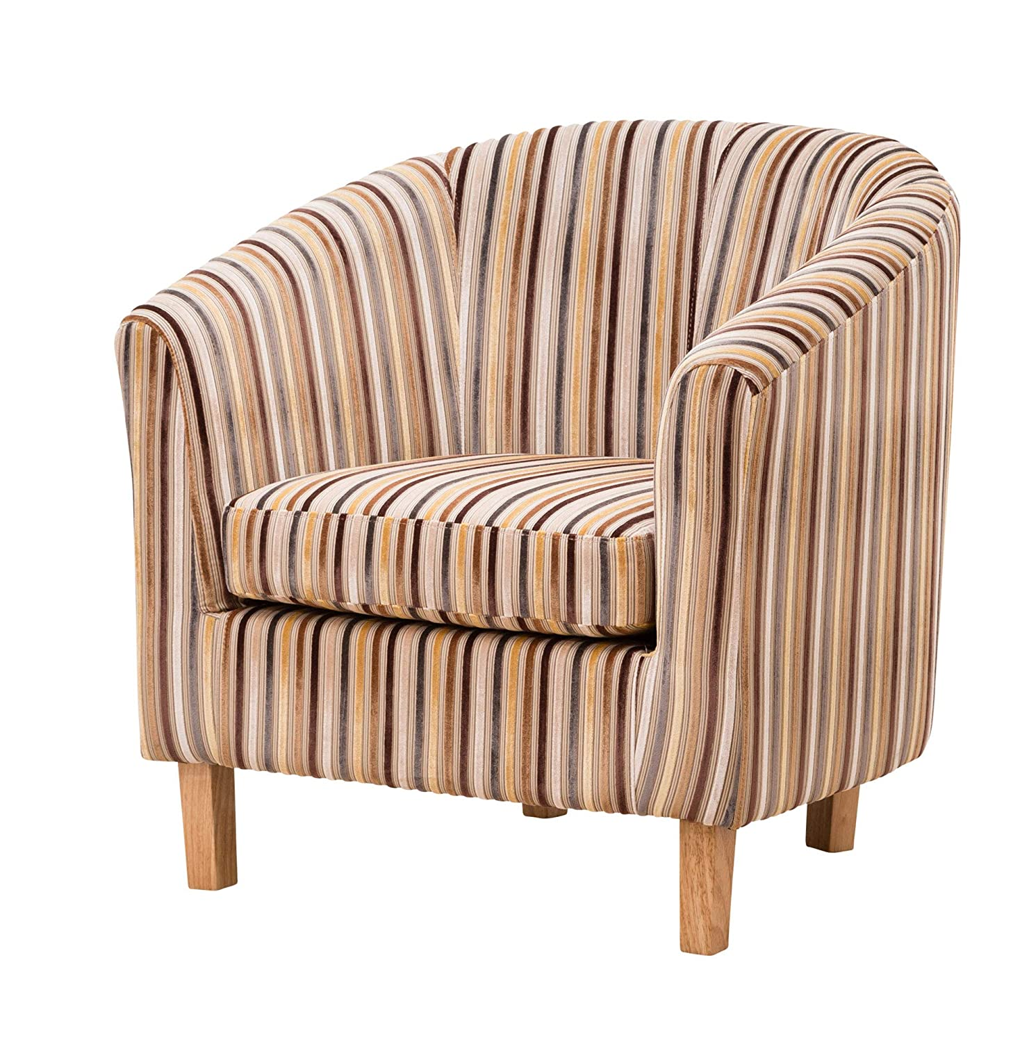 Sofa Collection Amboise Striped Tub Chair/Armchair Seating, Fabric, Brown, 70 x 76 x 73 cm 5060363585052