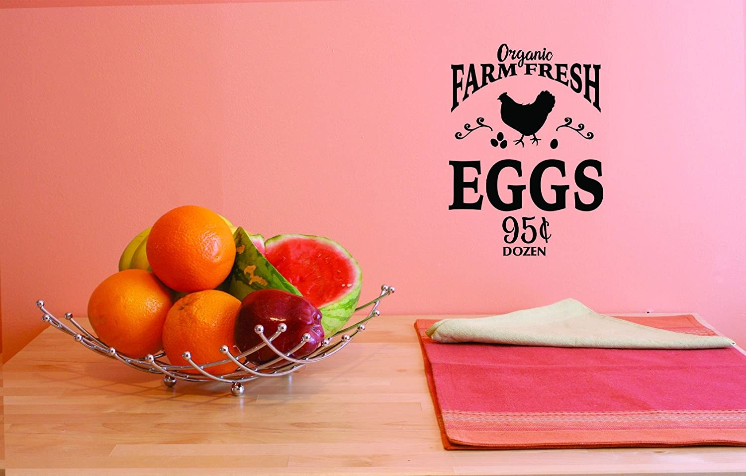 Design with Vinyl JER 1756 2 Hot New Decals Organic Farm Fresh Eggs 95 Cents Dozen Wall Art Size 14 Inches x 28 Inches Color Black 14 x 28