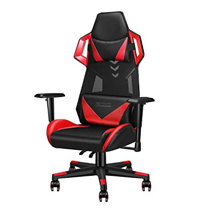 Fabulous Luxmod Office Gaming Chair High Back Leather Swivel Computer Chair Ergonomic Racing Style Desk Chair With Lumbar Support Adjustable Headrest Dailytribune Chair Design For Home Dailytribuneorg