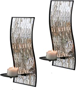 Whole Housewares Decorative Metal Wall Candle Sconces, Wall Candle Holders - Mosaic Glass Set of 2 (Brown)