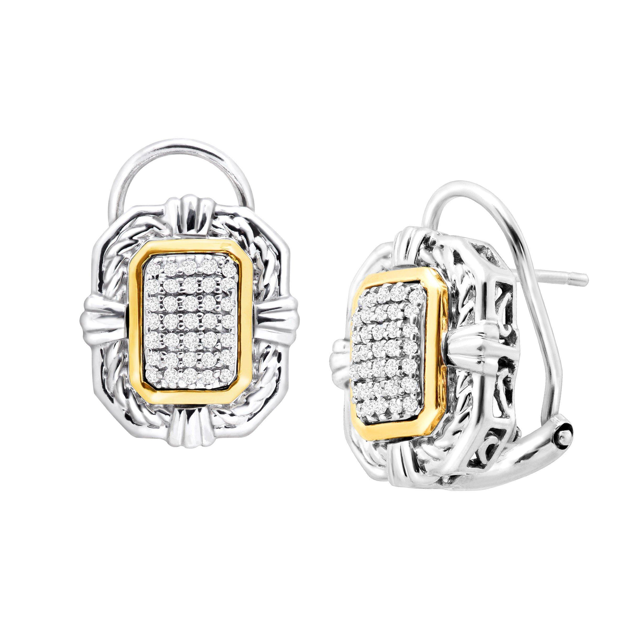 1/5 ct Diamond Braided Frame Stud Earrings in Sterling Silver & 14K Gold