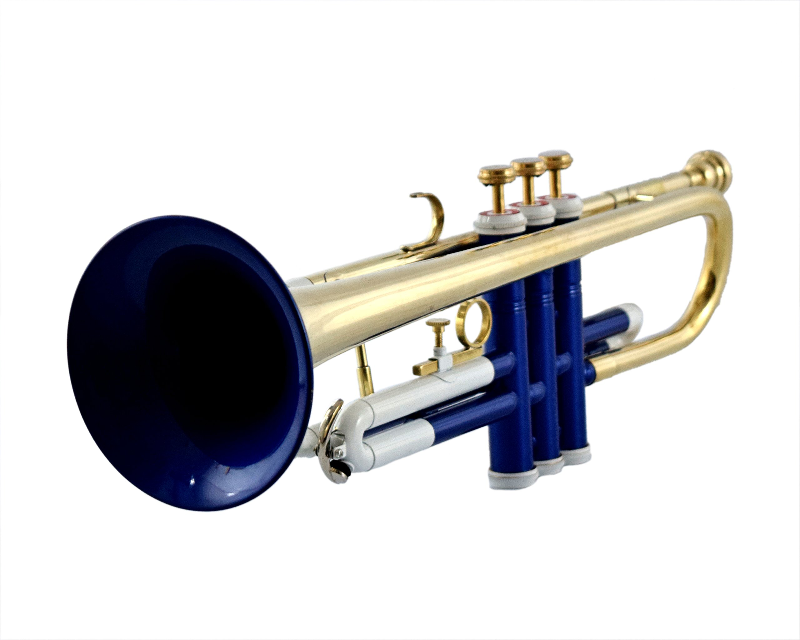 NASIR ALI Bb PITCH TRUMPET WITH HARD CASE AND MP, BLUE COLOR + BRASS