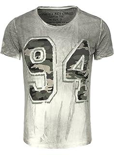 Key Largo Herren T-Shirt NINETY FOUR mit Camouflage Muster im Vintage Look  94 Verwaschen 8918da64da