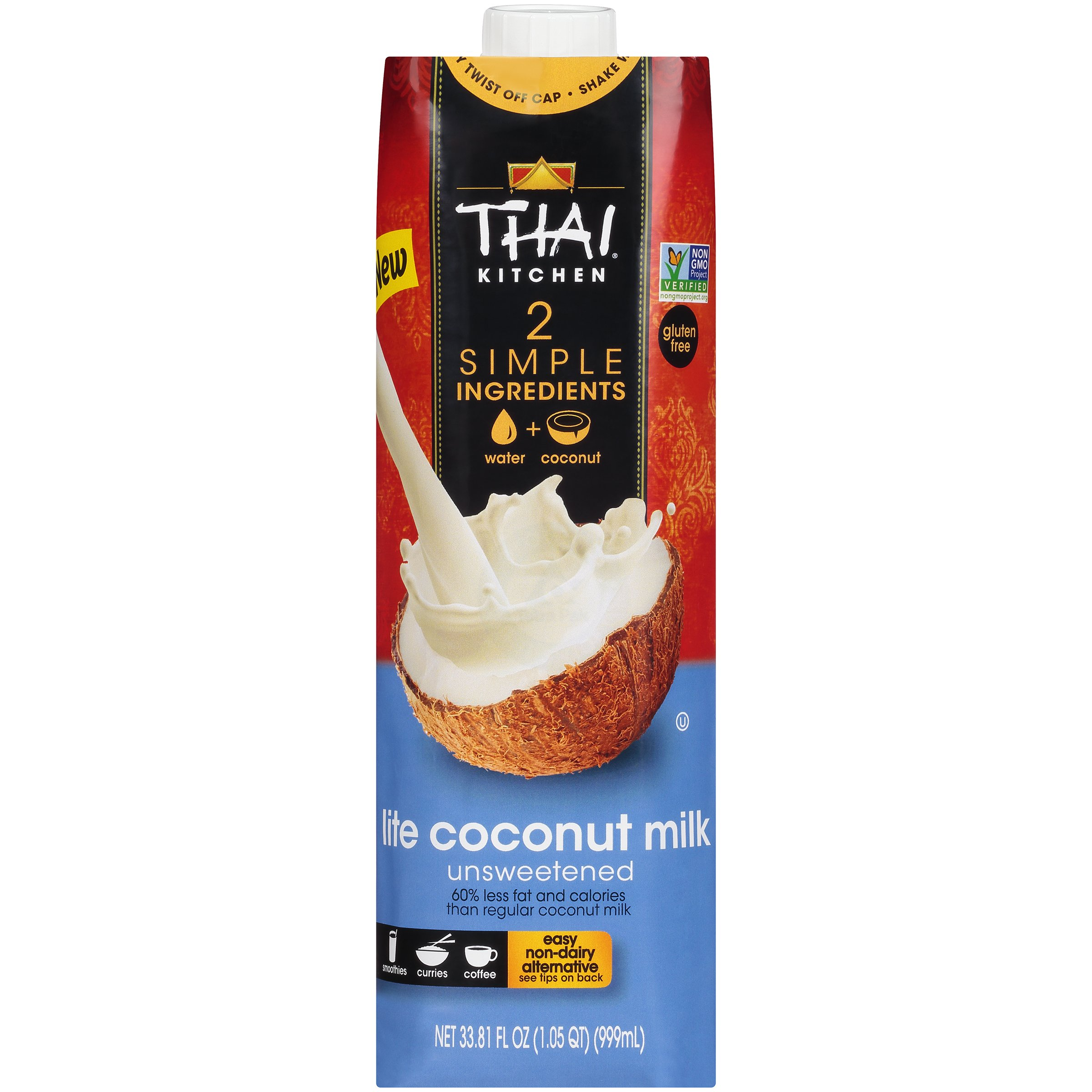 Thai Kitchen Dairy Free Lite Coconut Milk (Resealable, Just Coconuts & Water, BPA Free Packaging, Unsweetened), 33.81 fl oz (Pack of 6) by Thai Kitchen (Image #1)