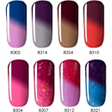 Color Changing Temperature Gel Nail Polish, UV LED Soak Off Varnish Set, 8 Tiny Bottles in Gift Box, 0.24 OZ, Modelones
