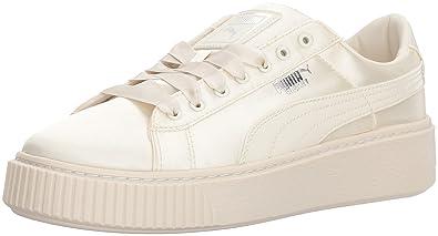 e628d892e0ab PUMA Girls  Basket Platform Tween Sneaker, Whisper White Whisper White, 1 M  US
