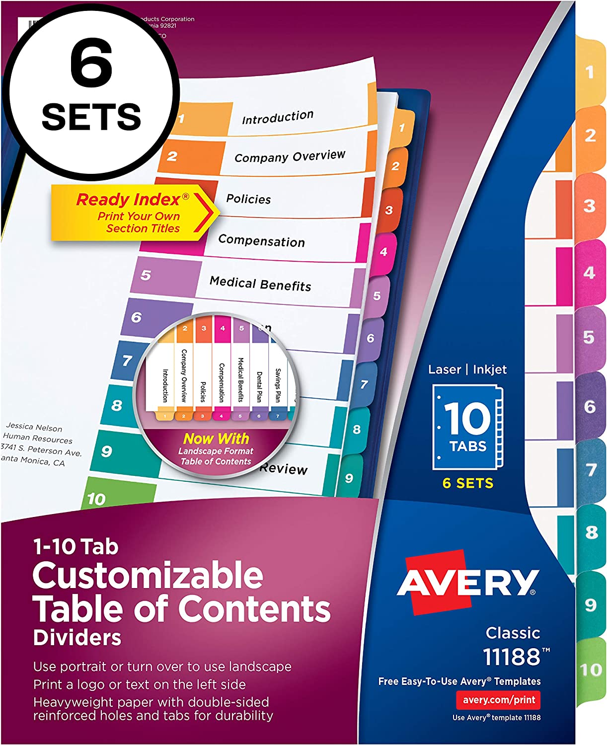 Avery 10-Tab Dividers for 3 Ring Binders, Customizable Table of Contents, Multicolor Tabs, 6 Sets (11188) : Binder Index Dividers : Office Products