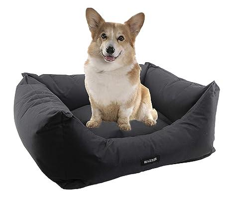 Cama de Perros, Cesta para Perro o Gato, Sofá para Perros Impermeable, Lavable y con cojín Extraible. Colores Rojo, Azul o Negro. (L, Negro)